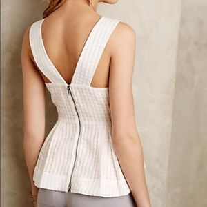 Anthropologie Maeve White Basket Weave Peplum Top